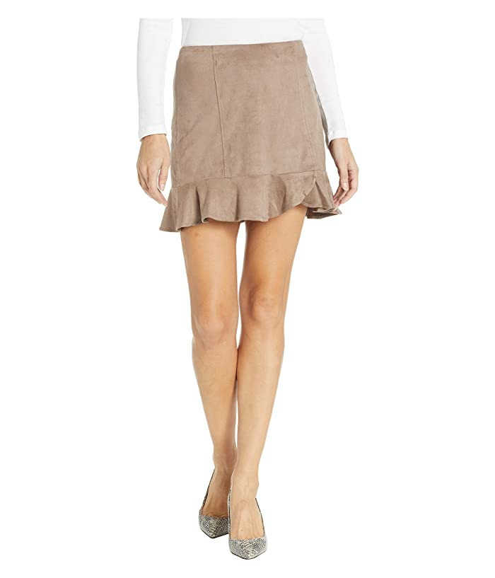 Jack by BB Dakota Sagittarius Faux Suede Ruffle Skirt (Fossil Brown) Women