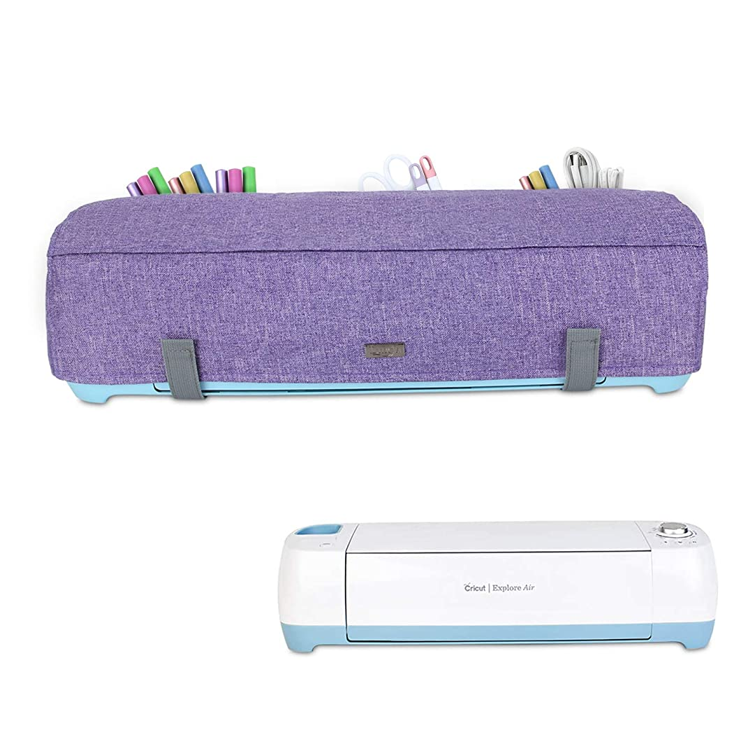 Luxja Dust Cover Compatible with Cricut Explore Air, Explore Air 2 and Maker, Dust Cover with Back Pockets for Accessories, Purple