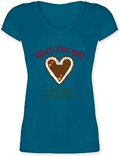 """Shirtracer Oktoberfest & Wiesn Damen - Dirndl Wird g""""woschn - Shirt statt Dirndl - Damen T-Shirt mit V-Ausschnitt"""