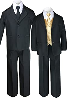 6149c314cf84 Unotux 7pc Boys Black Suit with Satin Mustard Vest Set from Baby to Teen