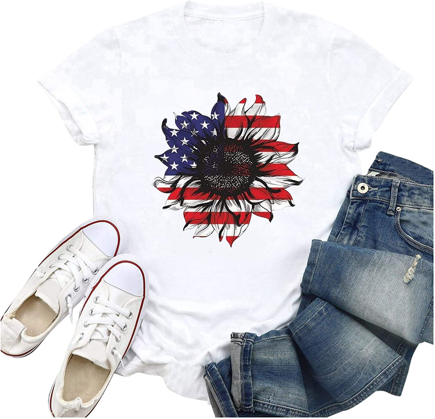 Aukbays Womens Summer Tops 4th of July Sunflower US Flag Graphic Printed T-Shirts Short Sleeve Causal Shirts Tees Blouse