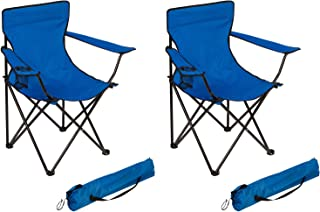 Trademark Innovations Portable Folding Camp Chair by (Blue, Set of 2)