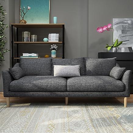 (12色可选,产品质保3年)现代时尚沙发 北欧风格沙发 布艺沙发组合 款式新颖简约现代 客厅家具客厅沙发组合 中小户型沙发 全布艺可拆洗 (单独3人位(长度2.1米-适合中小户型), 深灰色)(买就送清洁液+空调被+高级沙发凳2张)