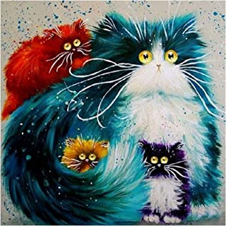 5D Kit de pintura de diamante para gatos,DIY 5D diamond painting gatos familia DIY Rhinestone bordado punto de cruz artes manualidades para decoración de la pared del hogar 30x30 cm
