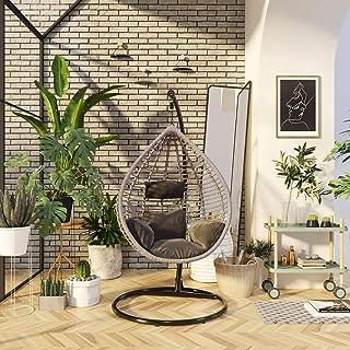 Indoor/Outdoor Wicker Tear Drop Hanging Chair with Durable Metal Frame, Max 150 Kg (Greige)