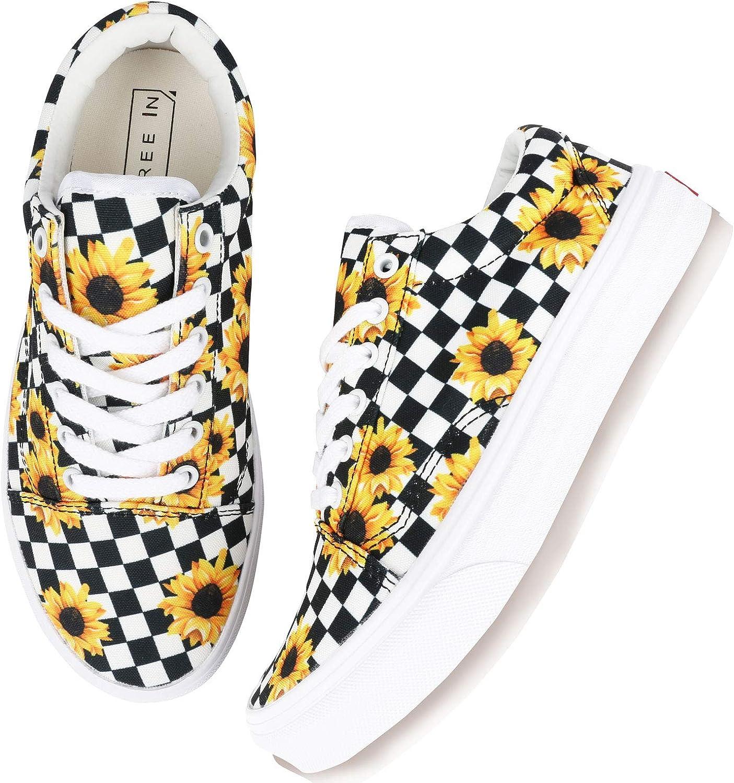 flySpacs Cute SunflowerCheckboard Sneaker 訳あり品送料無料 Slip-On Women Fashion メーカー在庫限り品