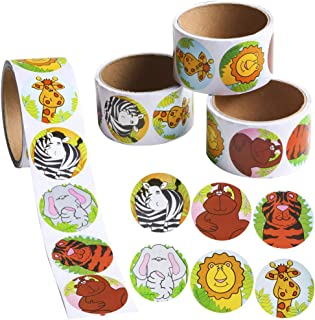 PROLOSO 4 Animal Sticker Rolls for Kids - 400 Count Jungle Stickers with Perforated Line 1.5 Inches