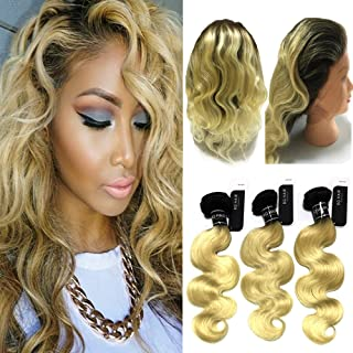BQ 1B-613 Color 360 Lace Frontal with Bundles-Ombre Blonde 8A 100% Brazilian Raw Virgin Human Hair 3 Bundles with 360 Lace Band Frontal Pre Plucked (14