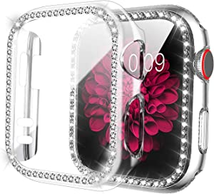 ZXK CO Compatible Apple Watch Case 40mm Series 6/5/4/SE with Tempered Glass Screen Protector, Bling Cases Shiny Diamond Rhinestone Bumper Frame Full Protective Case for iWatch Series 4 5 6 SE (40mm)