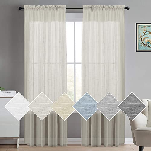 975e70d9988aa4 Natural Linen Blended Sheer Curtains Rod Pocket Curtains for Bedroom 96  Inches Long Privacy Window Treatment