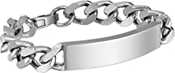 "8"" Polished Curb Chain ID Plate Bracelet in Stainless Steel"