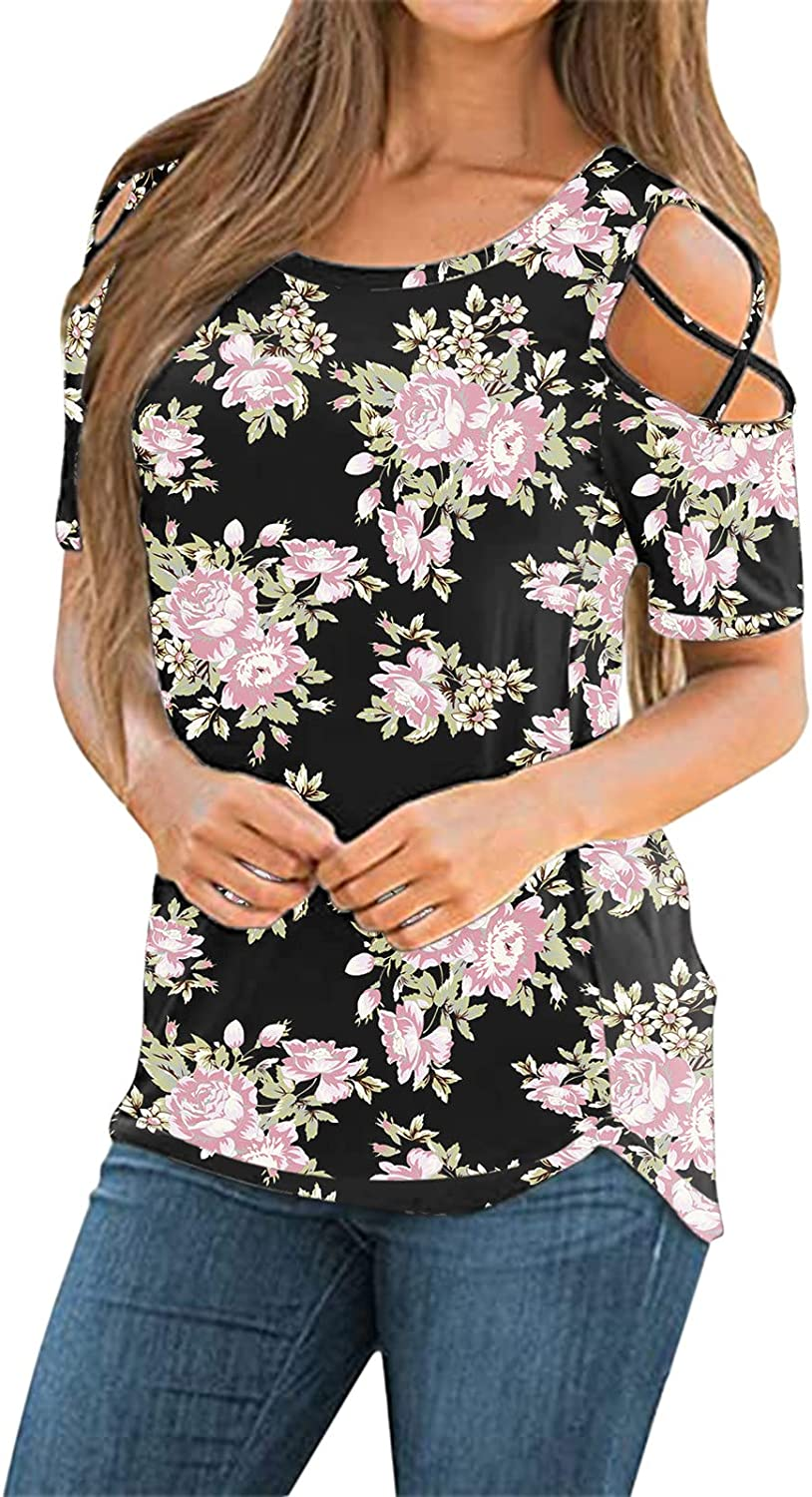 Womens Summer Tops,Womens Strappy Cold Shoulder Tops Summer Short Sleeve Round Neck Loose Casual Tee T-Shirt Black