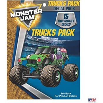 Amazon Com Monster Jam Trucks Decal Pack Set Of 15 Monster Truck Stickers Monster Jam Decals Includes Grave Digger El Toro Loco Max D Zombie Megalodon Dragon Soldier Fortune Monster Mutt Monster