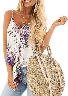 Women's Summer Floral Print Sleeveless Spaghetti Strap Cami Tank Tops