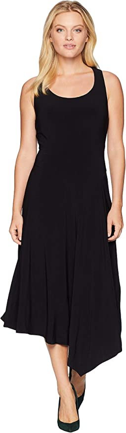 Scoop Neck Seamed Asymmetrical Hem Dress