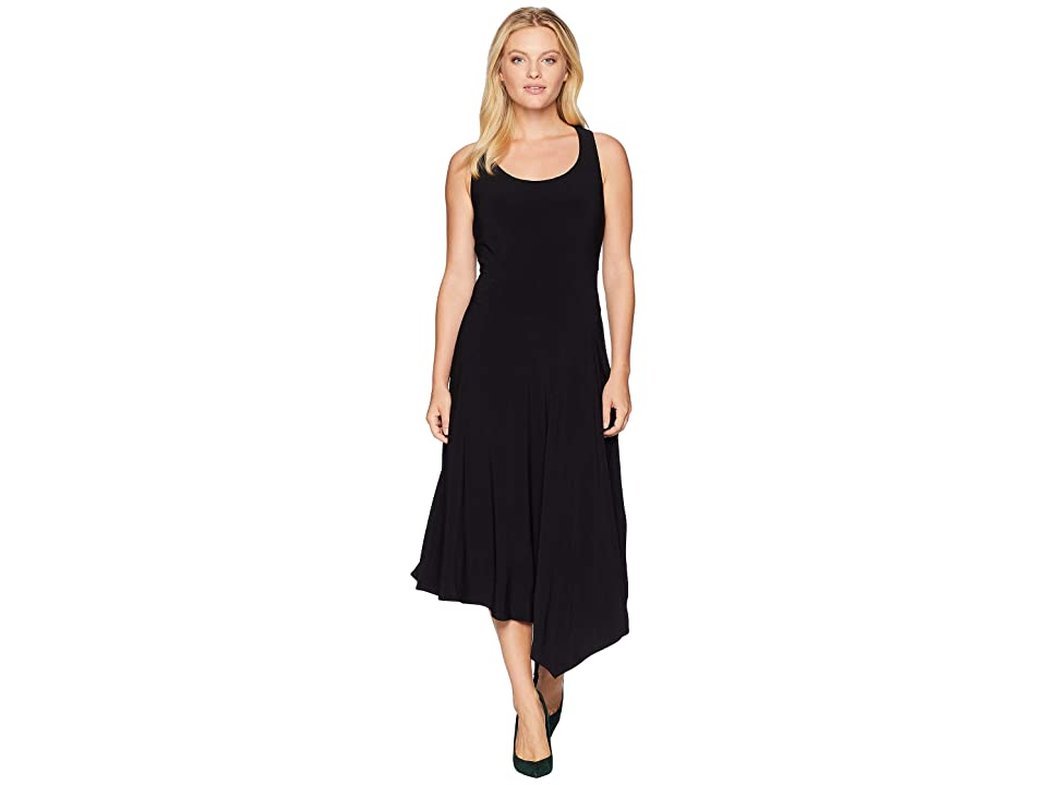 Anne Klein Scoop Neck Seamed Asymmetrical Hem Dress (Black) Women