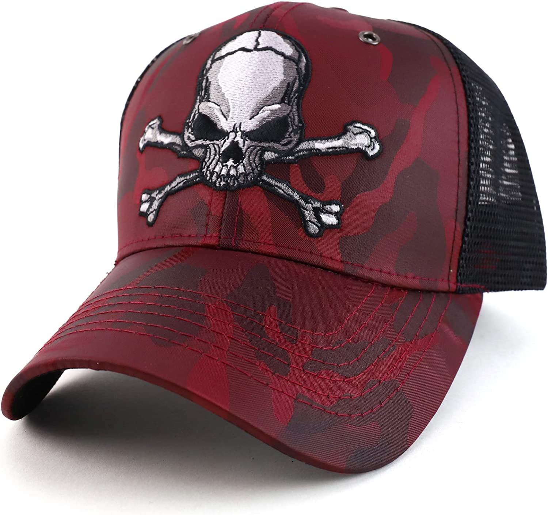 Trendy Apparel Shop Skull Trucker Nyon Camo Trucker Mesh Baseball Cap