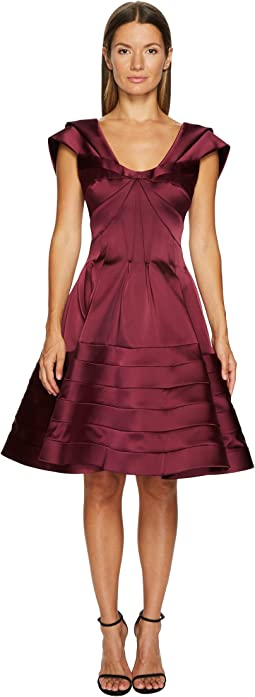 Zac Posen - Stretch Satin Fit and Flare Dress