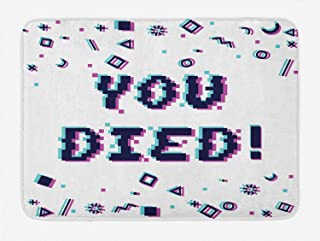 Lunarable Vaporwave Bath Mat, You Died Phrase in Pixel Art Style with Glitch Effect Squares Lines, Plush Bathroom Decor Mat with Non Slip Backing, 29.5