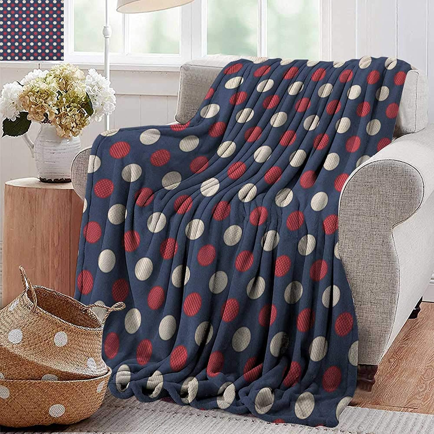 XavieraDoherty Weighted Blanket Adult,Abstract,Retro Large Circles with Inner Stripes Round Spots Kids Nursery, Cream Dark Coral Night bluee,Soft, Fuzzy, Cozy, Lightweight Blankets 35 x60