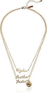 Marvel Comics Women's Captain Marvel Polished Finish 3-Tiered Necklace, Gold, One Size