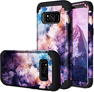 Galaxy S8 Case, Fingic Samsung Galaxy S8 Case 3 in 1 Heavy Duty Protection Hybrid Hard PC Soft Silicone Rugged Bumper Anti Slip Full-Body Shockproof Protective Case for Samsung Galaxy S8, Nebula Black