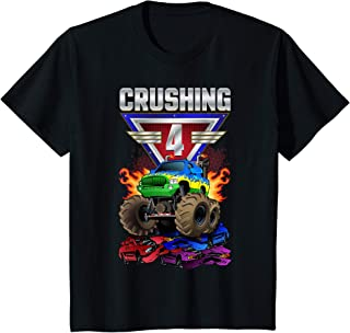 Enfant Monster Trucks Crushing 4 Boys 4th Birthday Four Year Old T-Shirt