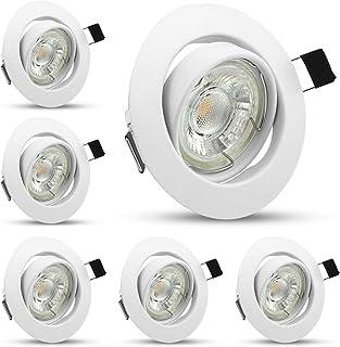 Foco LED empotrable blanco neutro 4500 K, 6 bombillas GU10 5 W, orientable, focos de Techo, 450 lm, equivalente a 50 W, bombilla halógena para techo de habitación, cocina, salón, pasillo