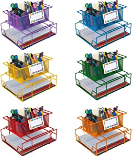 Really Good Stuff Group Materials Caddies with Label Holders -Set of 6 Bright Colors