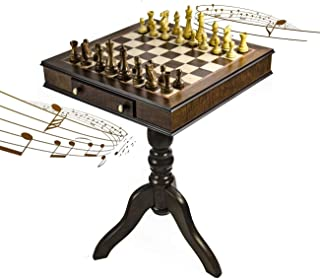 Timeless Handcrafted Walnut Finish 30 Note Italian Musical Pedestal Chessboard - Raindrops Keep Falling On My Head