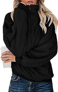 Womens Oversized Fleece Sweatshirt Quarter Zip Sherpa Pullover with Pockets Fuzzy Hoodie