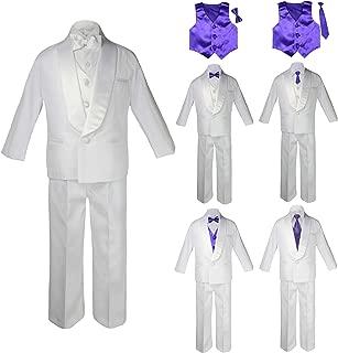 Baby Kids Child Kid Toddler Boy Teen Formal Wedding Party White Suit Tuxedo Set Purple Satin Vest Bow Tie Necktie Sm-20