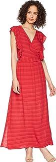 Michael Stars womens plisse stripe ruffle maxi dress Dress