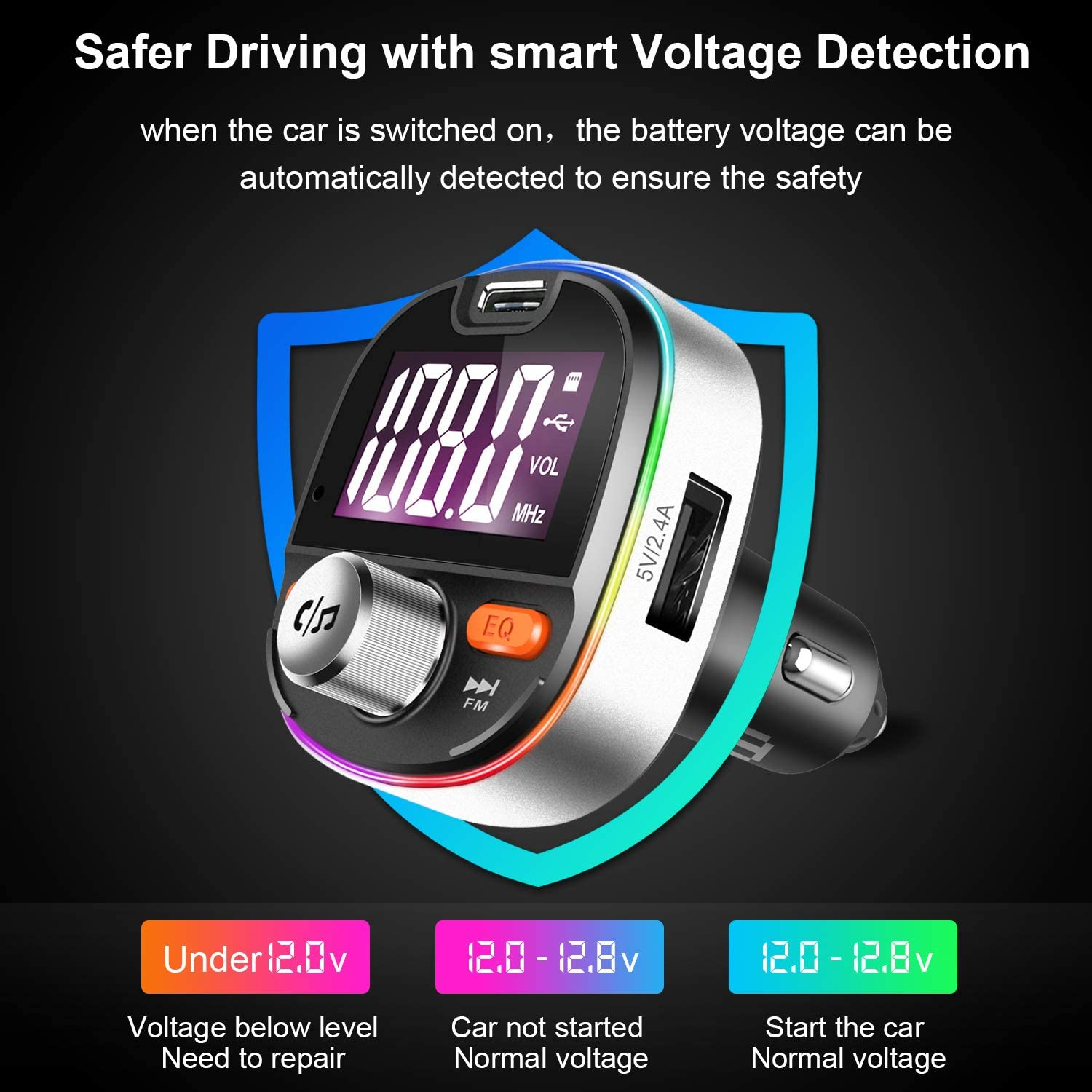 PD3.0 Wireless Radio Bluetooth Adapter with Dual USB /& Type-C Charging Port E T Bluetooth FM Transmitter for Car Music Player Charger Car Kit with Hands Free Silver 7 Colors LED Backlit