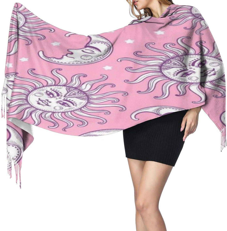 Cashmere fringed scarf Mandala Sun and Moon winter extra large scarf