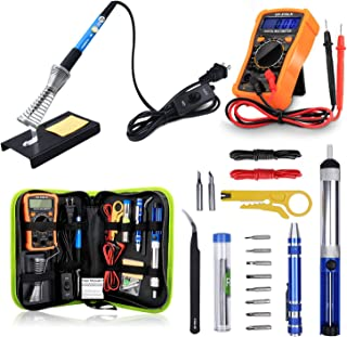 Anbes Soldering Iron Kit 60W Adjustable Temperature Welding Tool, Digital Multimeter, 2pcs Soldering Iron Tips, Desoldering Pump, Wire Stripper Cutter, Tweezers, Iron Stand, 2pcs Electronic Wire