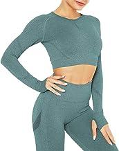 DUROFIT Yoga Gym Crop Tops Vrouwen met Duim Gat Naadloze Lange Mouw Shirt voor Workout Running Fitness