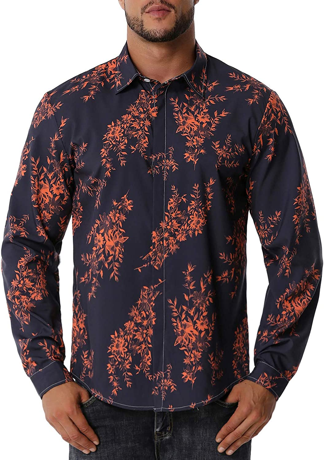 WHATLEES Men's Hipster Slim Directly managed store Fit Long Dress List price Print Floral S Sleeve