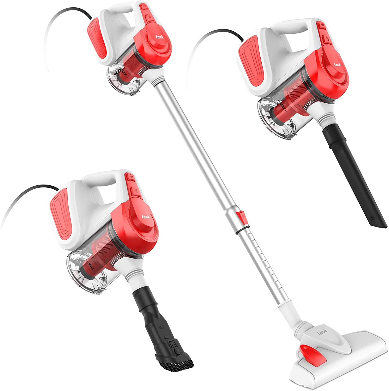 INSE Vacuum Cleaner Corded Vacuum Cleaner 18KPA Powerful Suction Multipurpose 3 in 1 Vacuum with 600W Motor Stick Vacuum Cleaner I6 Red