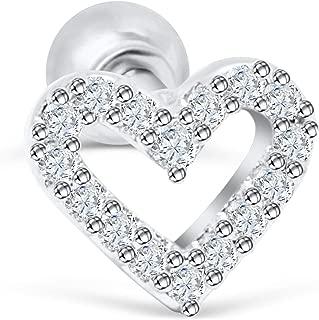 14K Gold Plated Simulated Diamond Cz Dainty Love Heart Ear Barbell Ball Stud Earring Piercing