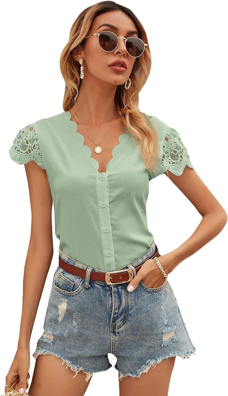 SheIn Women's Lace Short Sleeve V Neck Scallop Trim Button Down Blouse Shirt Top