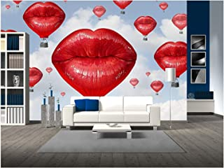 wall26 - Love Balloons as a Hot Air Balloon Made of Human Red Lips Soaring Up to The Blue Sky - Removable Wall Mural | Self-Adhesive Large Wallpaper - 100x144 inches