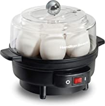 Hamilton Beach Electric Egg Cooker and Poacher for Soft, Hard Boiled or Poached with Ready Timer, Holds 7, Black (25500)
