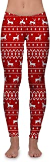 Women's Cute Christmas Leggings - Festive Xmas Leggings with Candy Canes, Reindeer