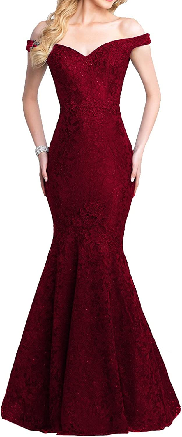 Yiweir Women's Mermaid Prom Dresses 2018 Long Lace Beads Sequins Formal Gowns YP039