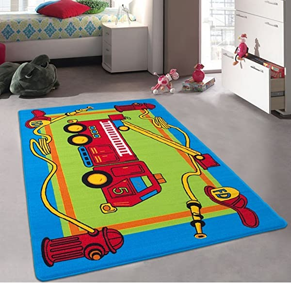 CR S Kids Baby Room Daycare Classroom Playroom Area Rug Fire Truck Educational Fun Non Slip Gel Back Bright Colorful Vibrant Colors 5 Feet X 7 Feet