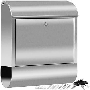 KESSER® XXL Briefkasten Edelstahl mit Zeitungsfach, gebürstet, 3x Schlüssel abschließbar, Pulverbeschichtet, Wandmontage, groß Front-Einwurf: DIN C4 = DIN A4, inkl. Montagematerial, Silber