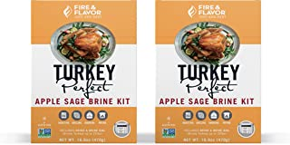 Fire & Flavor Turkey Brining Kit (Apple Sage) - Pack of 2 Kits - Contains Our World Famous Brine and Brining Bag for a Memorable Turkey Feast!