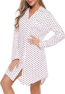 Doaraha Camicia da Notte Donna Cotone Invernale con Bottoni Vestaglia Corto Manica Lunga Sexy Elegante e Comodo S-XXL