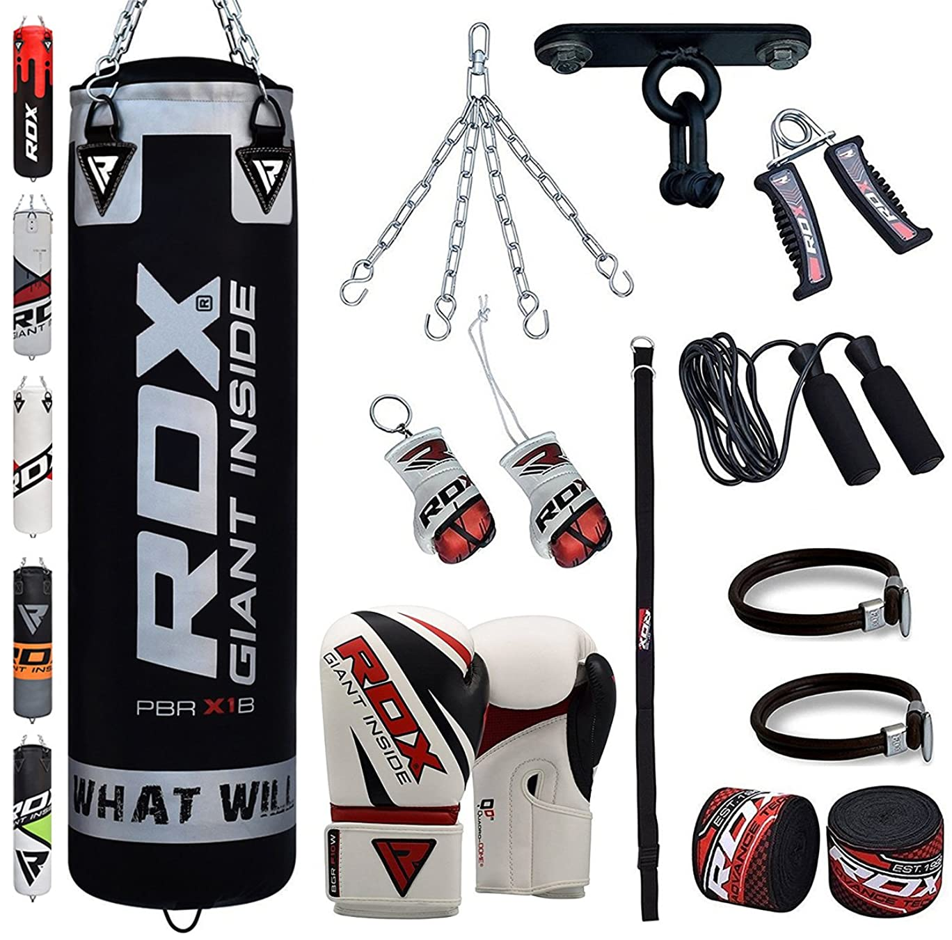 RDX Punch Bag Boxing Set 4FT 5FT Filled Heavy Gloves Ceiling Hook Chains Training MMA 13PC Punching Bags